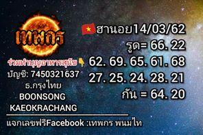 เพจหวยฮานอย 14/3/62 11