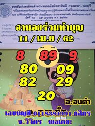 ชุดเลขแนวทางหวยฮานอย 11/4/62 4