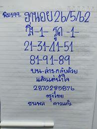 หวยฮานอยทำเงิน 26/5/62 4