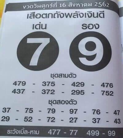 หวยเสือตกถังพลังเงินดี 16/8/62
