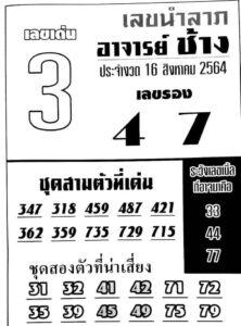 หวยอาจารย์ช้าง 16/8/64
